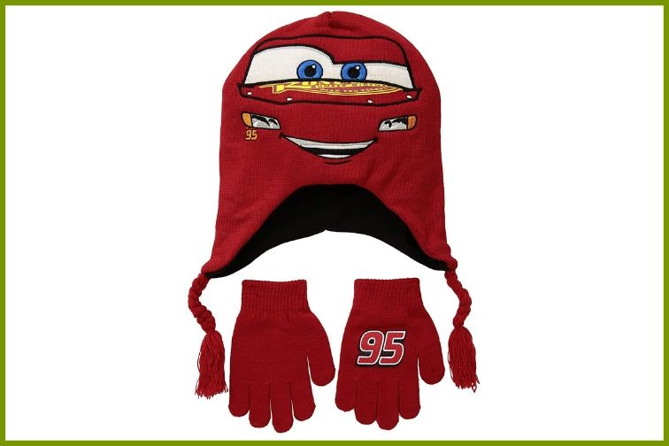 Cars themed hat and gloves