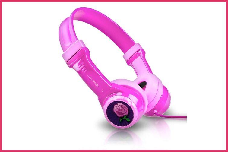 JBuddies Headphones in pink with rose