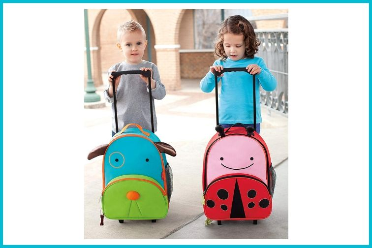 Skip Hop Kids Luggage with Wheels, two children with rolling suitcases