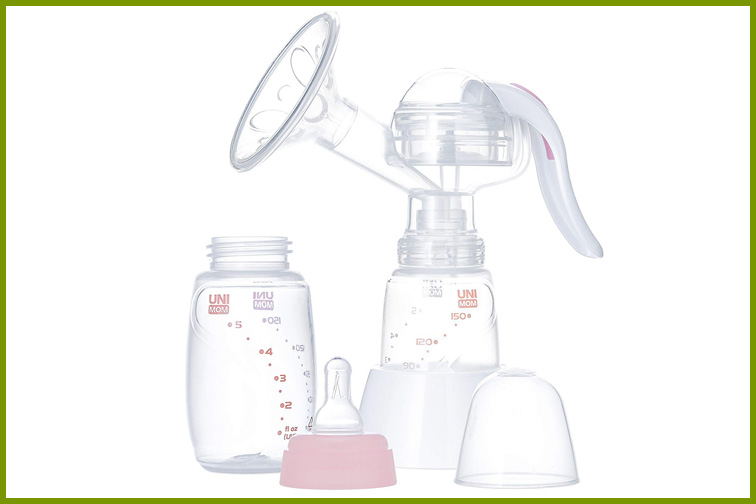Unimom Manual Breast Pump with Soft Silicone Massaging Breast Shield; Courtesy Amazon