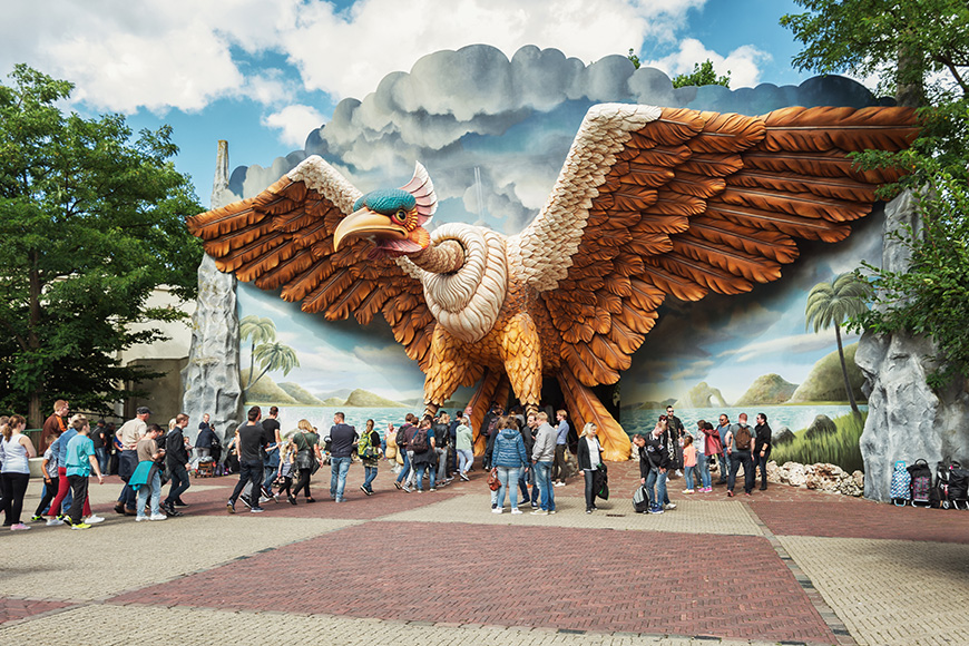 The entrance of the indoor roller coaster Vogel Rok in the amusement park Efteling in The Netherlands; Courtesy Julia700702/Shutterstock