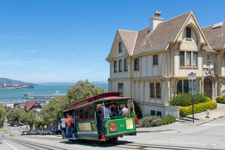 Cable car on Hyde street in San Francisco.; Courtesy Visit California
