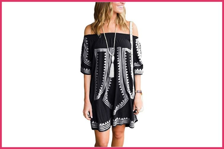 Bohemian Off The Shoulder Beach Cover Up