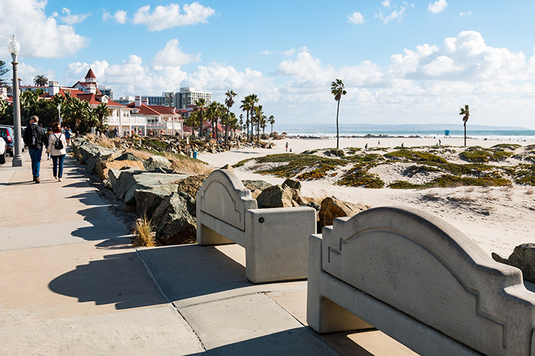 People stroll on the boardwalk on Coronado Central Beach; Courtesy Sherry V Smith/Shutterstock