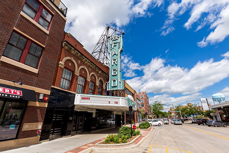 Downtown Fargo and the Fargo movie theater on a summer day. ; Courtesy David Harmantas/Shutterstock