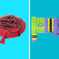 Fart joke books, whoopee cushion, fart gun