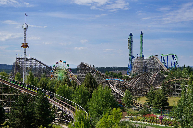 Silverwood, Idaho is the Northwest's Largest Theme Park with over 70 rides, slides, shows and attractions; Courtesy Silverwood Theme Park