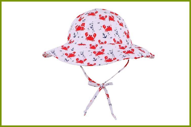 Summer Swimming Unisex Kids Breathable Anti-UV Wide Brim Chin Strap Sun Hat