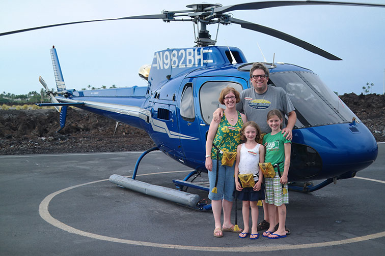 Family in Front of Helicopter; Courtesy of Jeff Bogle