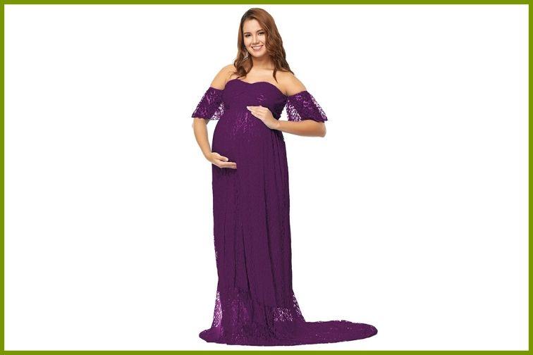 JustVH Maternity Off Shoulder Ruffle Sleeve Maternity Dress