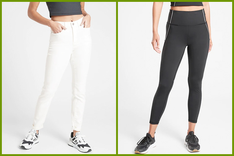 White jeans and workout pants from Athleta