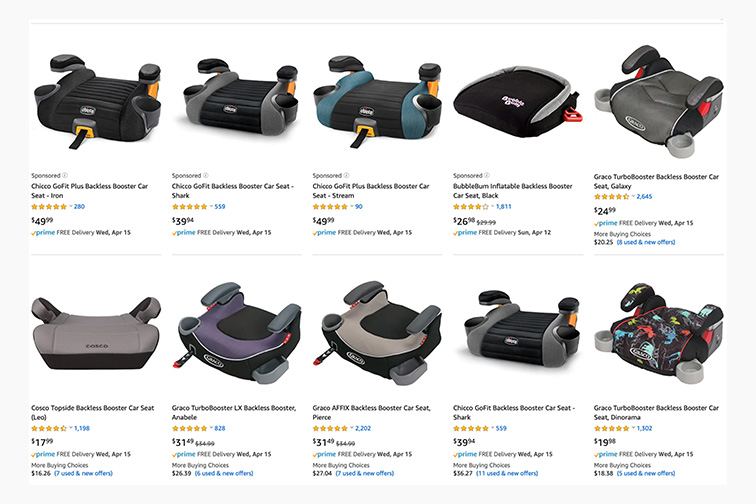 Backless booster seat product page Amazon