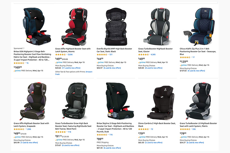high back booster seat products Amazon page