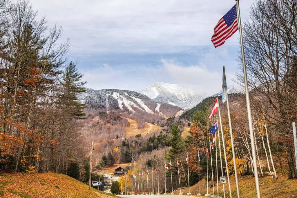 Flags lining the road at Whiteface Mountain