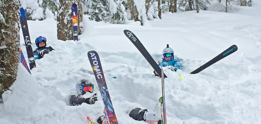 Skiers in snow bank at Bretton Woods