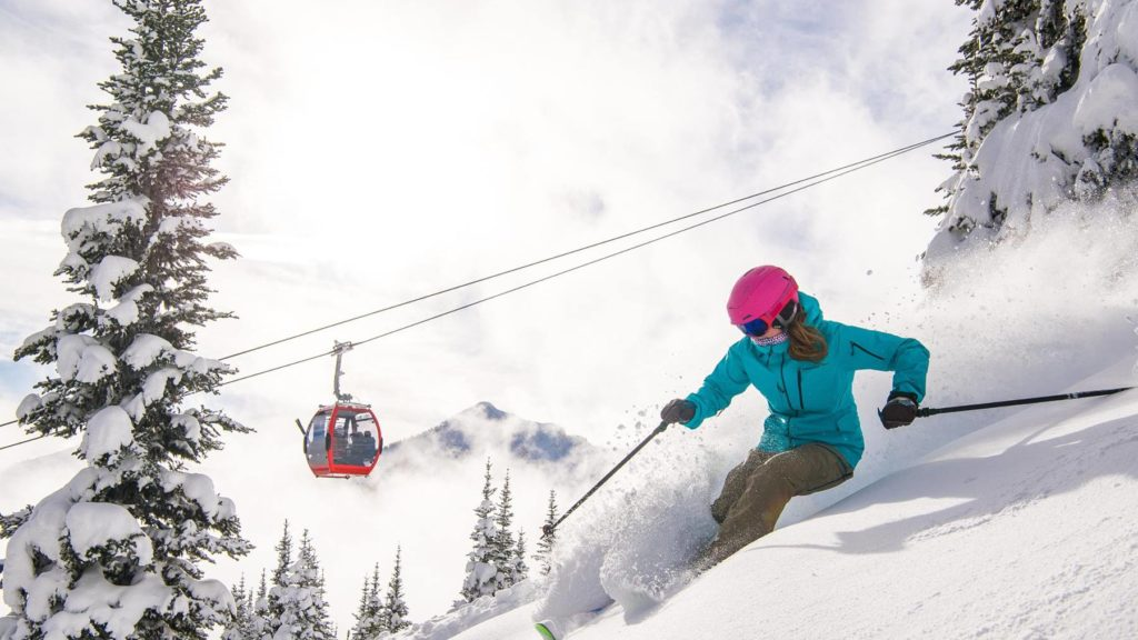 Woman skiing at Crystal Mountain Resort