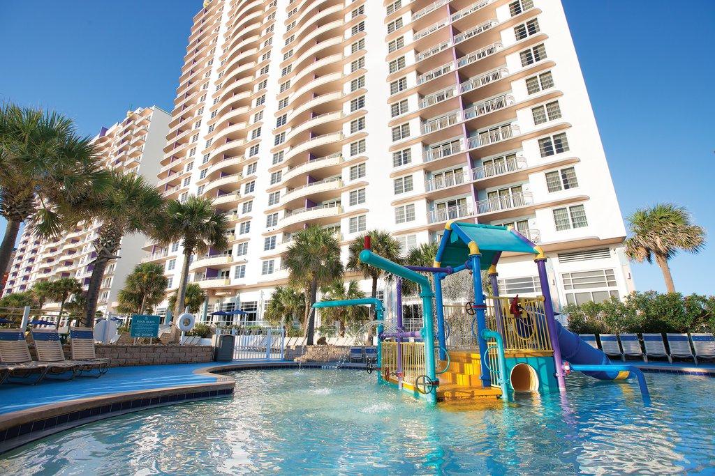 A water play set at a pool at Club Wyndham Ocean Walk hotel