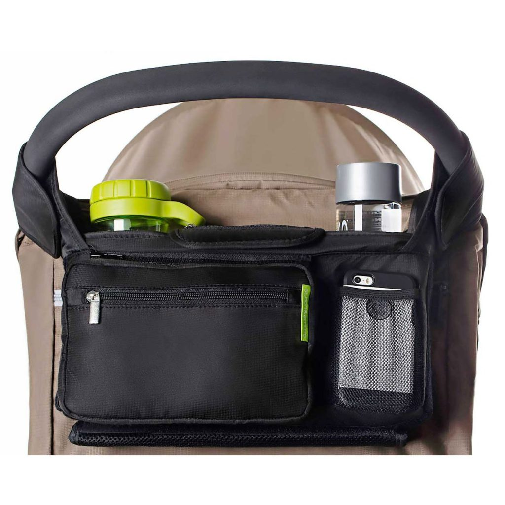 Ethan & Emma Universal Baby Stroller Organizer attached to a stroller