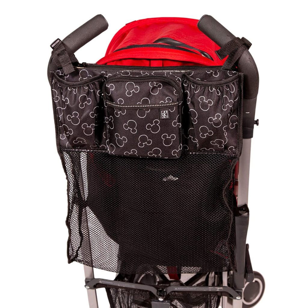 Disney Baby by J.L. Childress Cups 'N Cargo Universal Stroller Organizer attached to a stroller