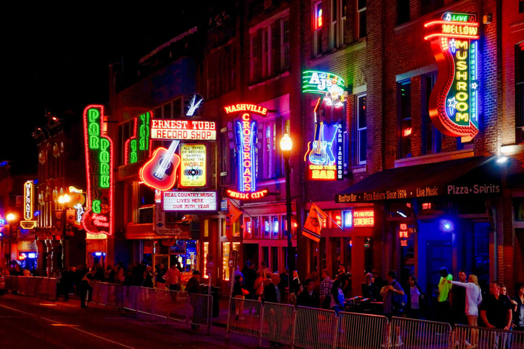 A strip of bars and music venues in Nashville, Tennessee