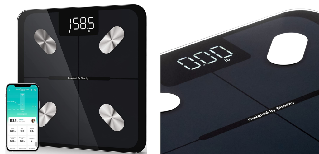 Two views of the Eteckcity ESF551 Smart Fitness Scale along with a phone displaying the corresponding app