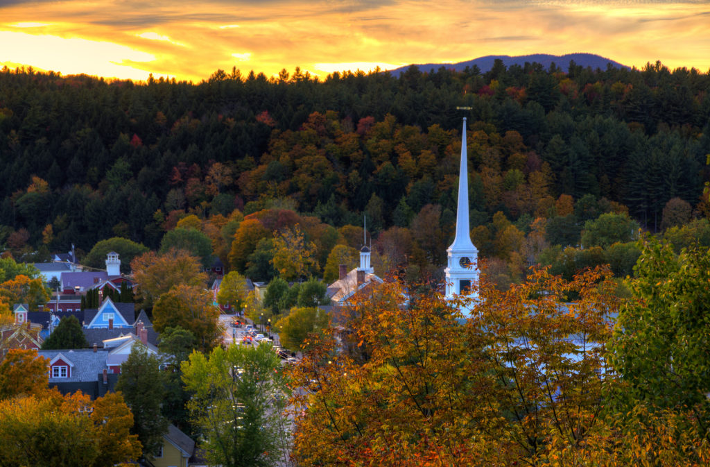 Aerial view of Stowe, Vermont during the autumn