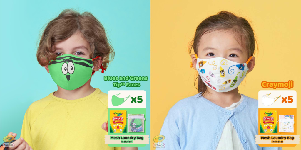 Two children wearing the Crayola Kids Masks Packs in Green and Yellow