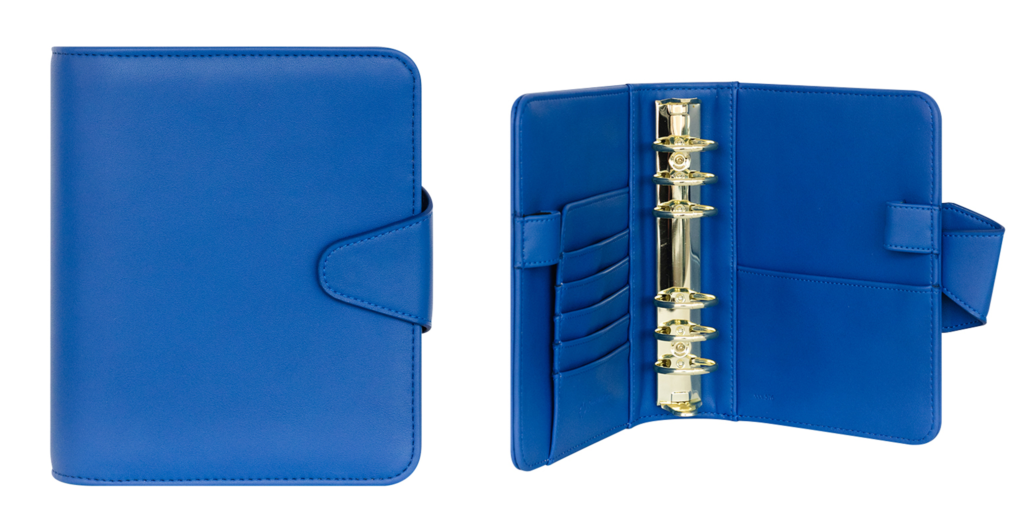 Front cover and inside features of the Franklin Planner Aliva Simulated Leather Snap Binder