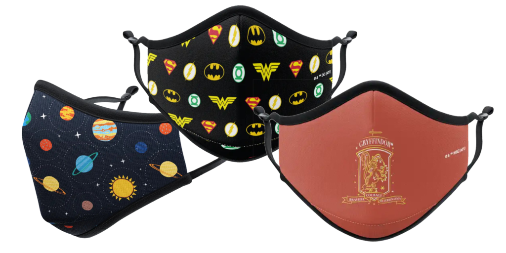 Vista Print Masks in Harry Potter, DC Comics, and Space patterns