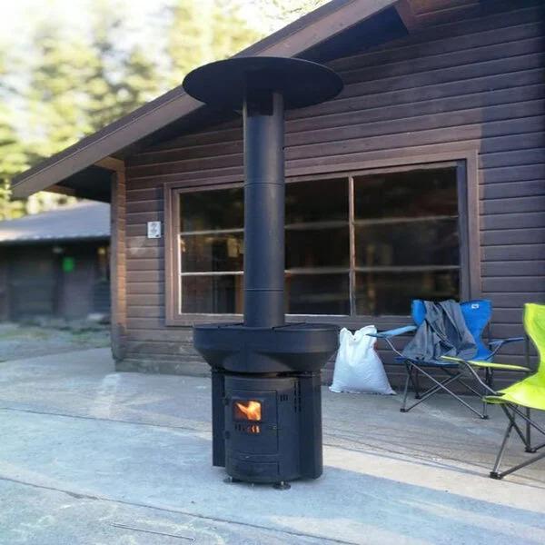 Q-Flame 79 in. 106,000 BTU Wood Pellet Outdoor Heater