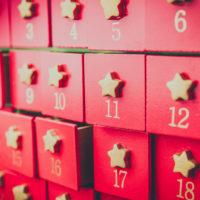 Close-up of red doors of an Advent Calendar
