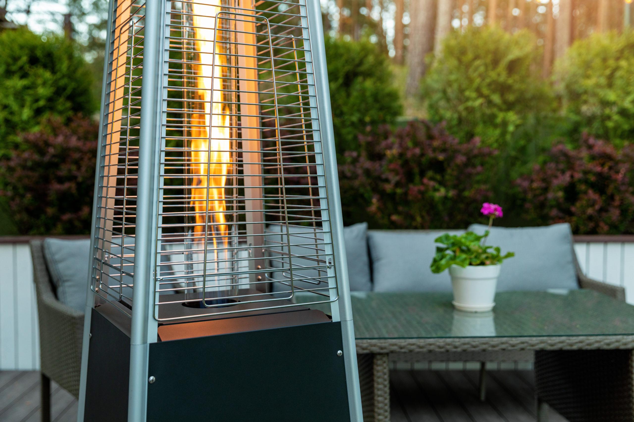 Outdoor heater on patio