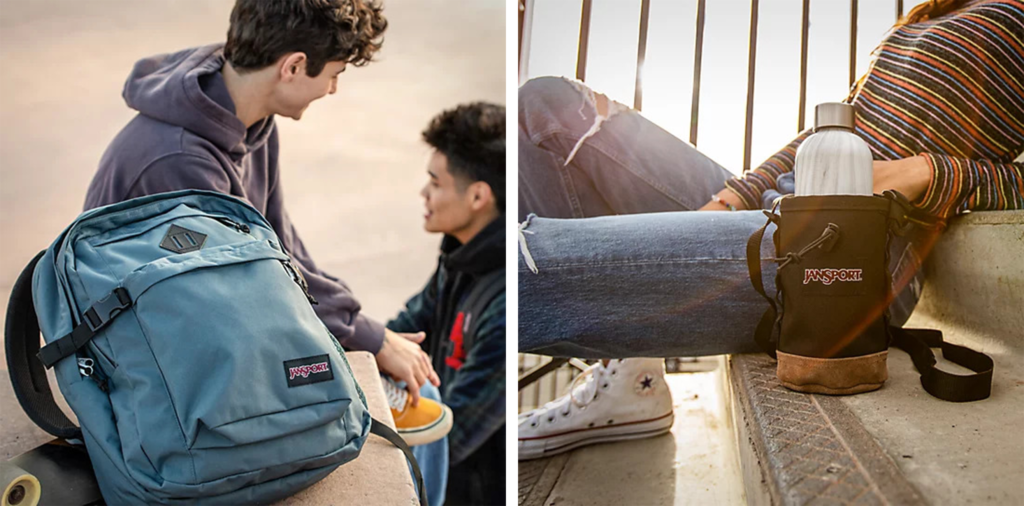 Two people with a Jansport backpack (left) and a person with a Jansport water bottle holder (right)