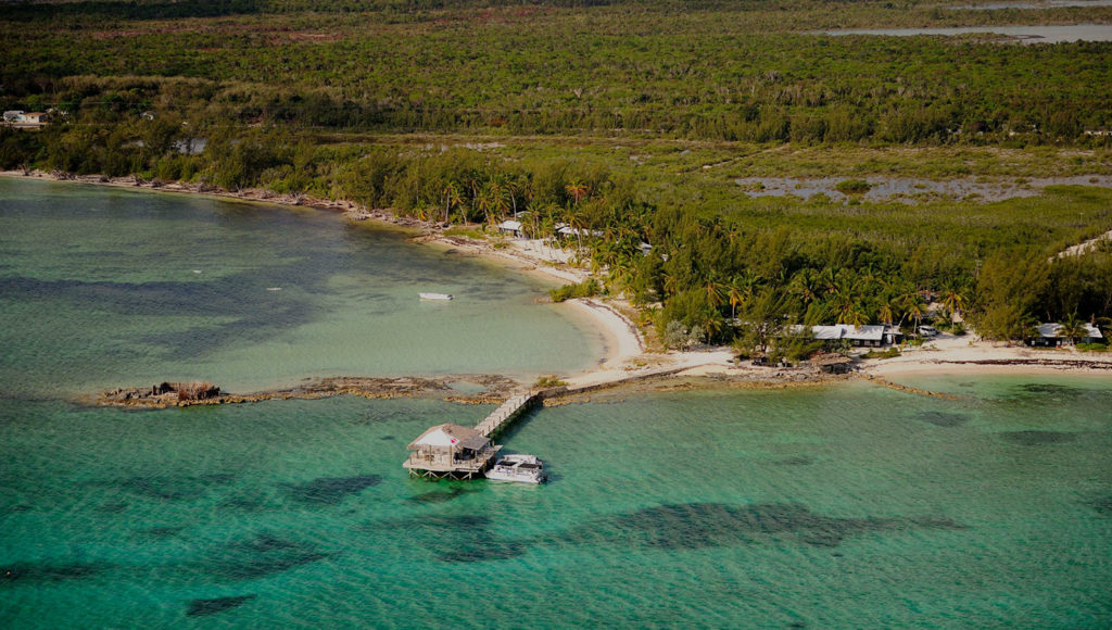 Aerial view of Small Hope Bay Lodge